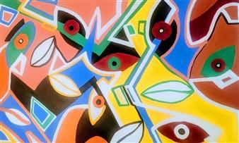 MaskOfWorro  - Many Faces Acrylic with Satin Varnish Polymer, Paintings