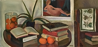 Hana Vater - Still Life with Books and Fruits Oil on Canvas, Paintings