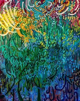 Rachel Misenar - Misty Mountain Top Acrylic on Canvas, Paintings