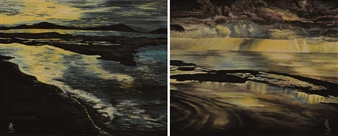 Fiorenza D'Orazi - L'Aurora (diptych) Oil on Canvas, Paintings