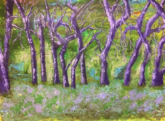 Maribel Matthews - Purple Trees Acrylic on Cardboard, Paintings