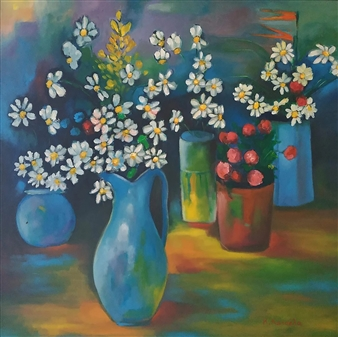 Konka - Where Flowers Bloom, so Does Hope Acrylic on Canvas, Paintings