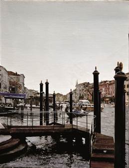 Jesus Monge - Muelle Veneciano Oil on Canvas, Paintings