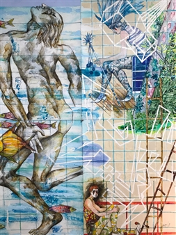 Michael Dolen - Three Circus Performers 177S Mixed Media on Paper, Mixed Media