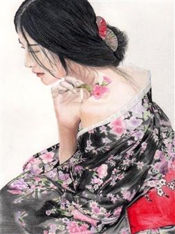 Atsushi Imai - Kimono Woman #2 Colored Pencil on Paper, Drawings