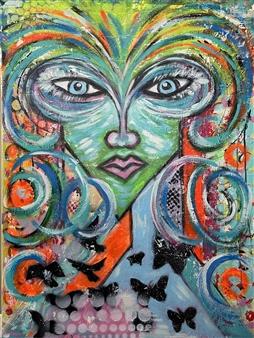 Lisa Gehres - Crazy Genius Acrylic & Spraypaint on Canvas, Paintings