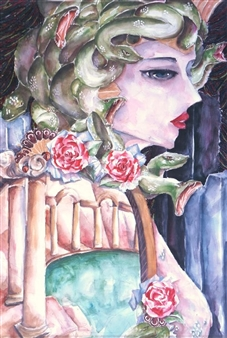 Xiao daCunha - Medusa's Glimpse Watercolor & Ink on Paper, Paintings