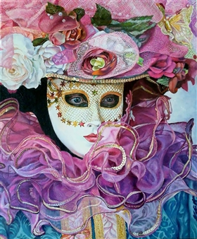 Sayumi Osanai - Venetian Mask 5 Oil on Canvas, Paintings