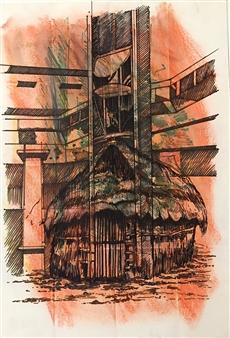 Manuel Riquelme Loyola - Ruca Mall Pastel on Paper, Paintings