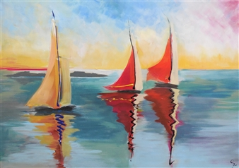 Rita Galambos - Sailboats in the Sunset Acrylic on Canvas, Paintings