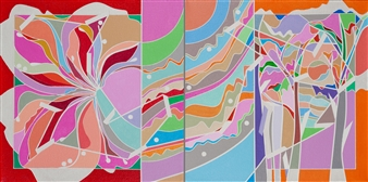 Ai-Wen Wu Kratz - Color Logic II / Red and Orange Acrylic on Canvas, diptych, Paintings
