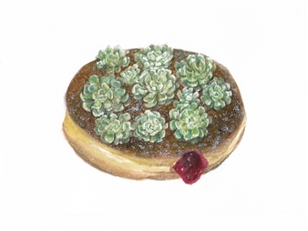 Charmaine Nadine Osaerang - Jelly-Filled Succulent Donut Watercolor on Paper, Paintings
