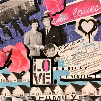 Nancy Landauer - Everything She Loves / Suburbia Mixed Media Collage on Canvas, Mixed Media