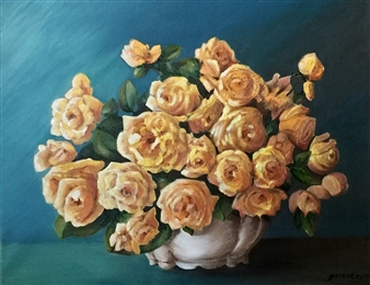 Garese - Roses Provençales Oil on Canvas, Paintings