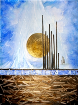 Westby and Mercier - Beyond Infinity Ink & Gold on Canvas, Mixed Media