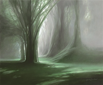 Bekir Smolski - The Foggy Morning Oil on Canvas, Paintings