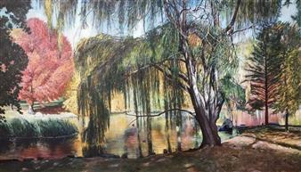 Alexandr Mischan - Autumn 2 Central Park NY Tempera on Canvas, Paintings