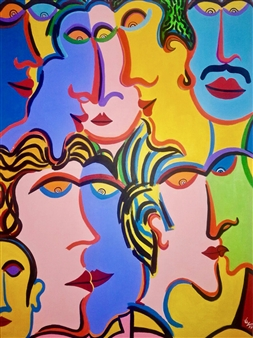 Diego Velez - Reunion Acrylic on Canvas, Paintings