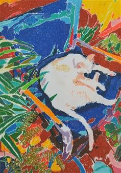 Manuel Jiménez Palma - Sleeping in the Yard. Pastel on Paper, Paintings