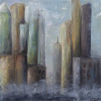 Sherri Springer - Urban Morning - FRAMED Oil on Canvas, Paintings