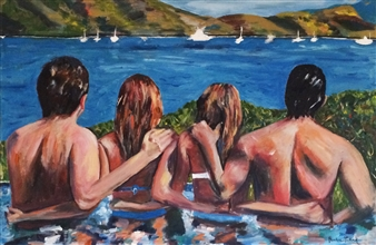 Marlene Kurland - In Love in St. Marten Oil on Canvas, Paintings