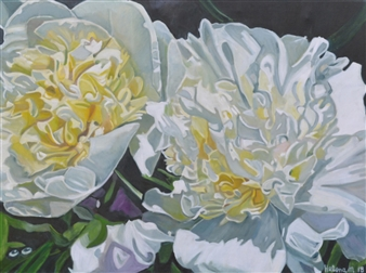 Helena McConochie - Waterdrops on Peonies 'Rebecca' Oil on Canvas, Paintings