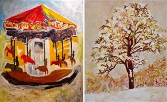 Elena Gastón Nicolás - El Tiovivo de los Hermanos Limonaire (Side A), 1986 | Gran Majuelo con Bendiciones (Side B), 2017 Mixed Media on Canvas, Mixed Media