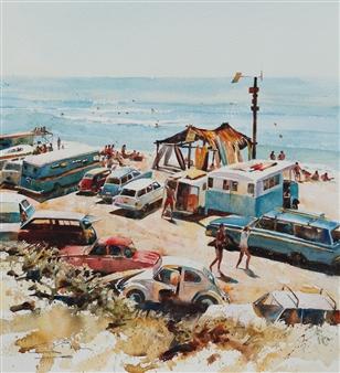 Eduardo Blanco - Surf Watercolor on Paper, Paintings