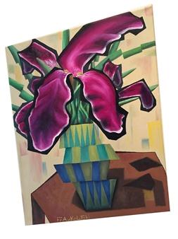 Craig Frankowski - Iris with Glitter Oil on Canvas, Paintings