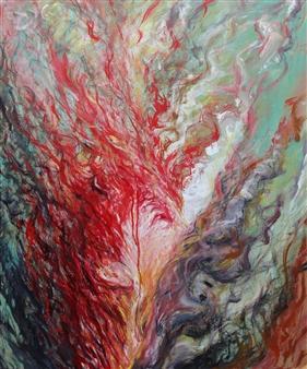 Jian Jun An - Horror 2 Acrylic on Canvas, Paintings