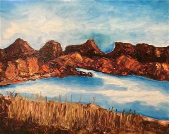 Marc Provisor - Flagstaff Lake Oil on Board, Paintings