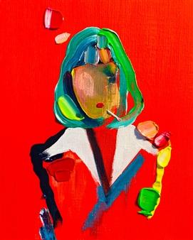 Kazusa Matsuyama - -Anonymous Portrait 03- Acrylic on Canvas, Paintings