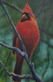Jonathan Mann - Cardinal Acrylic on Canvas, Paintings