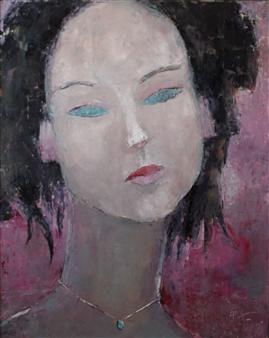 Becky Sungja Kim - Jade Amethyst Oil on Canvas, Paintings
