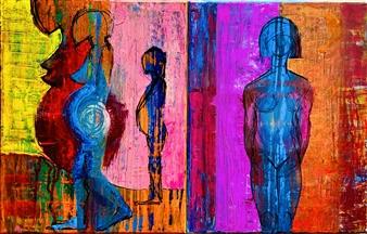 PJ Riley - MOTHERHOOD: Golden Journey (diptych) Acrylic & Oil on Canvas, Paintings