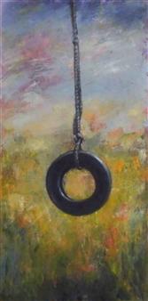 Pauli Zmolek - Tire Swing Oil on Canvas, Paintings