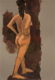 Jutta Ebeling-Dehnhard - Female Nude Acrylic on Carton Board, Paintings