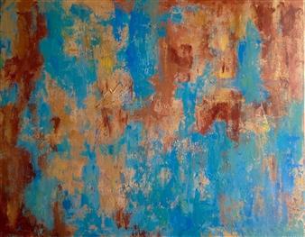 Mahnaz Weldy - Desert Rain Acrylic on Canvas, Paintings