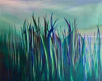 Rebecca Stenn - Sea Grass and Stormy Sky Acrylic on Canvas, Paintings