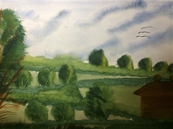 Aaron Cristofaro - Hillside Barn Watercolor on Paper, Paintings