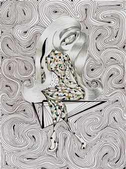 Nalayo - Una Moza en Equilibrio Black Fine Point Pen & Colored Markers on Paper, Drawings