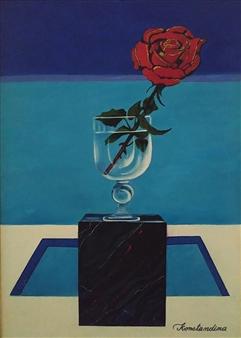 Konka - Marble Rose Acrylic on Canvas, Paintings