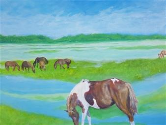Jonathan Mann - Chincoteague Ponies Acrylic on Canvas, Paintings