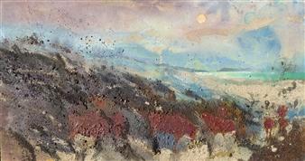 Frances Hatch - Red Ruby Moon Acrylic & Mixed Media on Canvas, Mixed Media