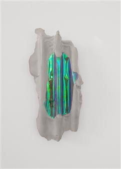 Mateusz von Motz - Prima Materia Energy Stone, Purple Green Mixed Media, Sculpture