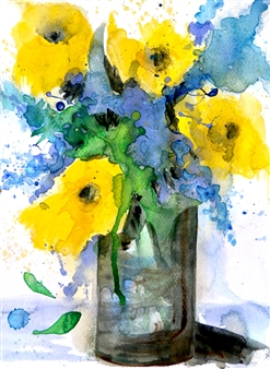 Rine Philbin - Yellow and Blue Flowers Watercolor on Paper, Paintings
