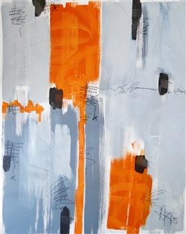 Nancy Landauer - Orange Series Acrylic & Oil Pastel on Canvas, Paintings