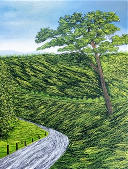 Hezekiah Baker Jr. - A Country Road Acrylic & Oil on Canvas, Paintings