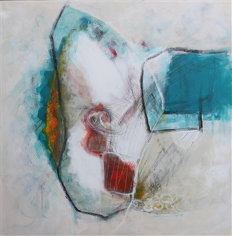 Emmanuelle Auzias - Turquoise Variation #8 Acrylic & Mixed Media on Canvas, Mixed Media