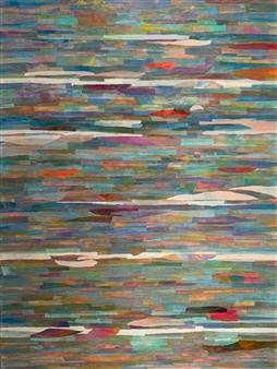 Ellen Globokar - Blue in Green Collage on Canvas, Mixed Media